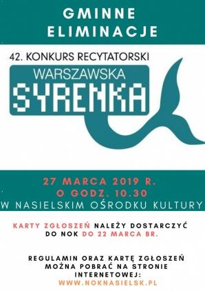 42.Konkurs Recytatorski Warszawska Syrenka Kliknięcie w obrazek spowoduje wyświetlenie jego powiększenia